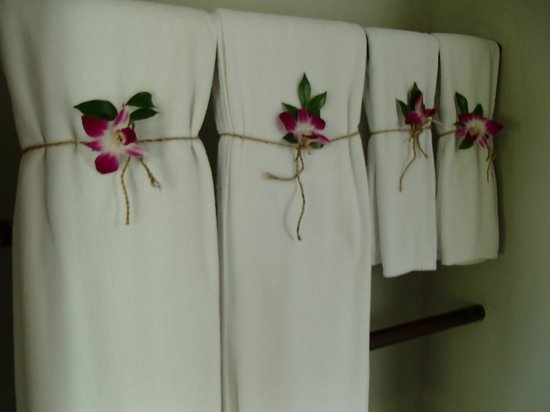 Villa Zolitude Resort and Spa : Orchids on towels in room