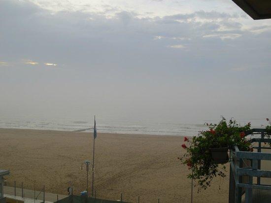 Hotel Adlon: La plage vue de notre balcon
