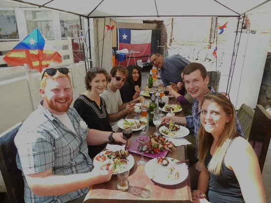 Hostal deVisita: Us dining with the owners on independence day