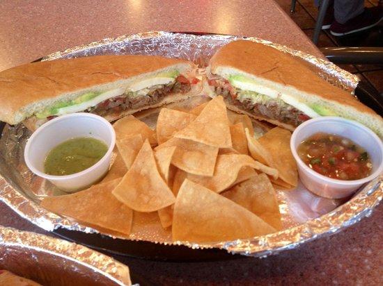 Las Tortugas Deli Mexicana: Elephant Ear: hand sliced sirloin sandwich.