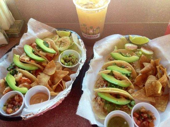 Las Tortugas Deli Mexicana: Shrimp tacos and chicken tacos