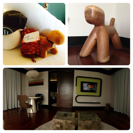 """Pullman Bali Legian Nirwana: welcome gift, pullman """"pully"""" decoration, view from living room"""