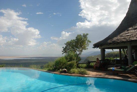 Lake Manyara Serena Lodge: бассеин утром