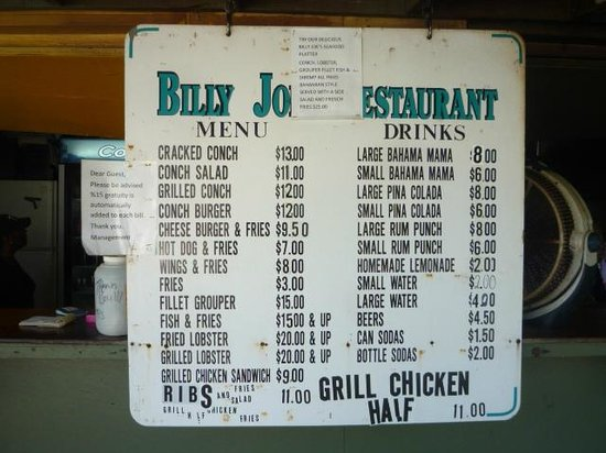 Billy Joe's On the Beach: Menu