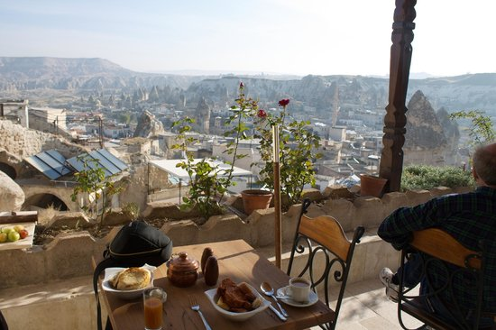 Kelebek Special Cave Hotel : View of Goreme at breakfast from hotel restaurant