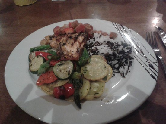 McKecks Tap & Grill : grilled salmon with amazing veggies and wild rice!
