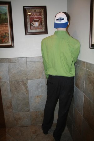 Green Flash: Mannequin in the ladies room for Halloween as you walk in. :)