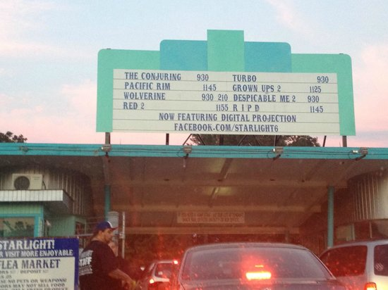 Starlight Six Drive-In: bays to enter with movie listings above