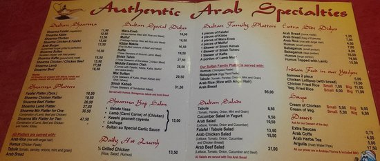 Menu picture of sultan arabian restaurant hookah for Arabic cuisine menu