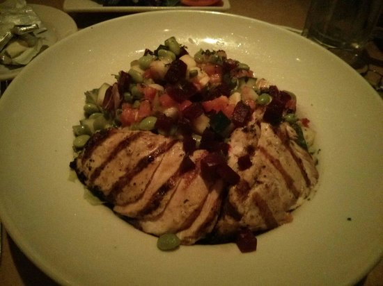 The Cheesecake Factory: Veg salad with chicken.  Large but great value.