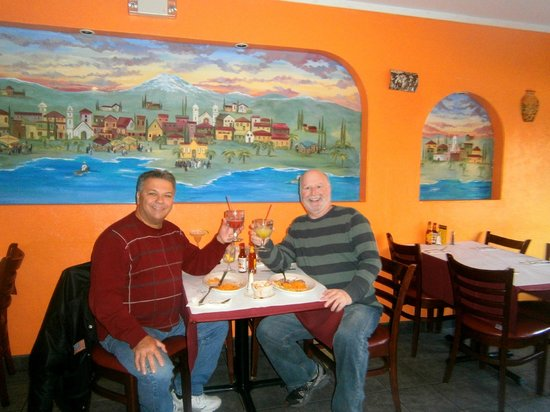 Bergenfield, NJ: NIck Belmonte and Harvey Hirsch enjoying a taco lunch in a Mexican atmosphere