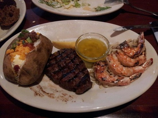 Black Angus Steakhouse - Milpitas: Filet mignon with prawns