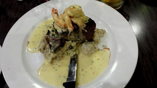 Del Giorno: Surf and turf on a bed of pepper mash, delish!