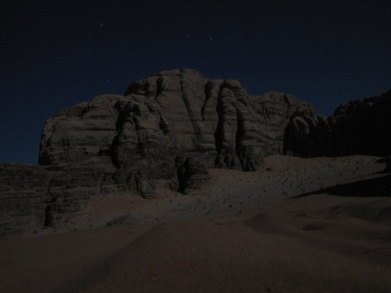 Rum Trips Campsite: Night time in the desert, near the campsite