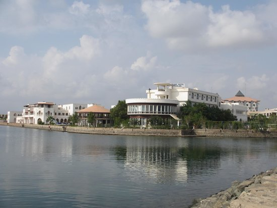 Massawa, Eritrea: Grand Hotel Dahlak seen from causeway