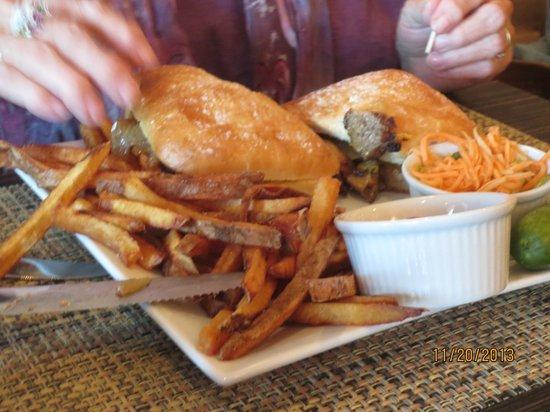 CW's Chops & Catch: steak on ciabatta roll