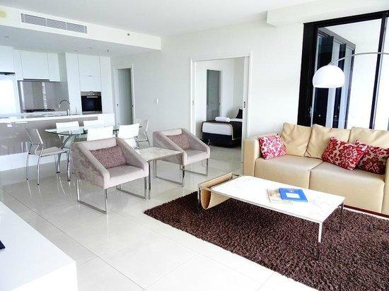 Ultra Broadbeach : Living room of a 2 bedroom apartment