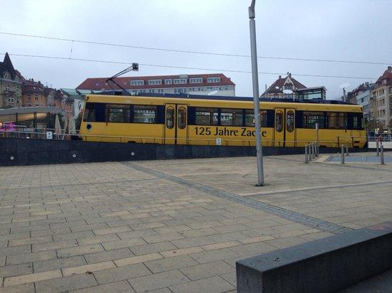 Park Inn by Radisson Stuttgart: Rack tram terminus in Marienplatz (across from hotel)