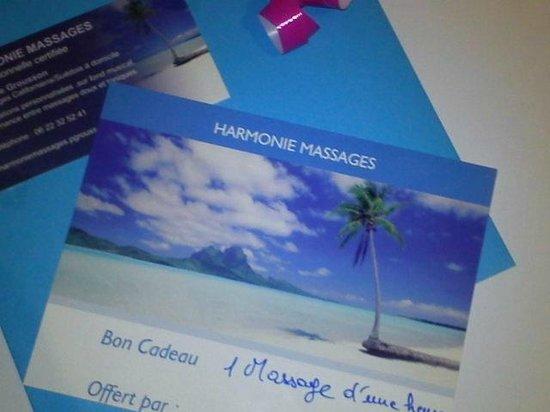 Bons cadeau plaisir d offrir de Harmonie Massages
