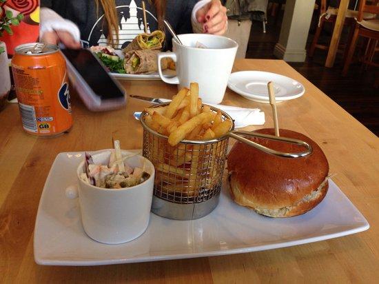 Cafe Eighteen: Pulled pork sandwich and jalapeño slaw...