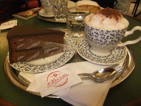 K.u.K. Hofzuckerbacker L. Heiner: Sachertorte and cappuccino.