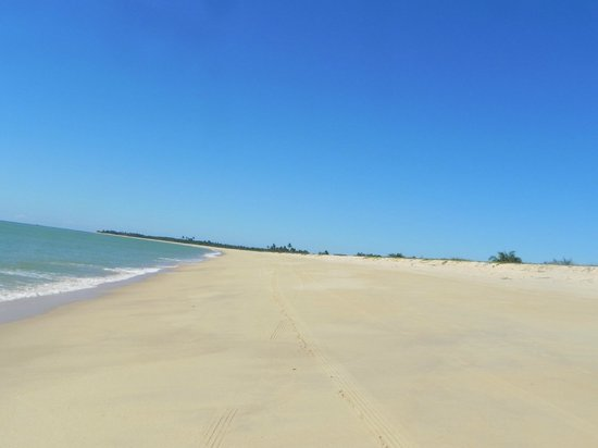 Ponta do Corumbau, BA: Trecho de praia percorrido de bugue