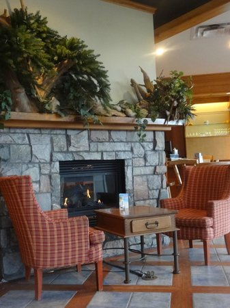 The Birches Restaurant: Fireplace for after dinner coffee & dessert !
