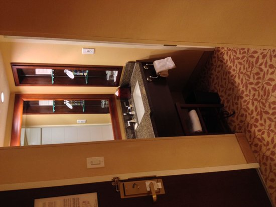 Boston Marriott Cambridge: Compact sink area separate from shower and toilet space. Good quality amenities.