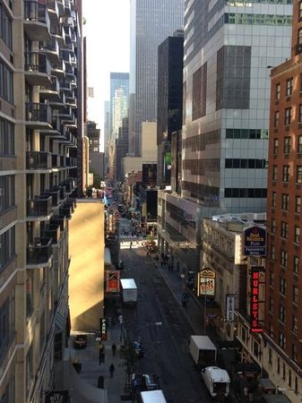 Hurley's Saloon: Here is a picture of 48th St. from Hilton Garden Inn, with Hurleys excellent sign visible on low
