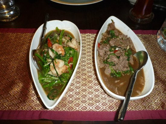 Sala Thai Restaurant: Morning Glory with Prawns on the left and Phud Ka Prow with Beef on the right.