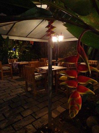 La Spezia Ristorante: mesas externas, em um jardim lindo!!!