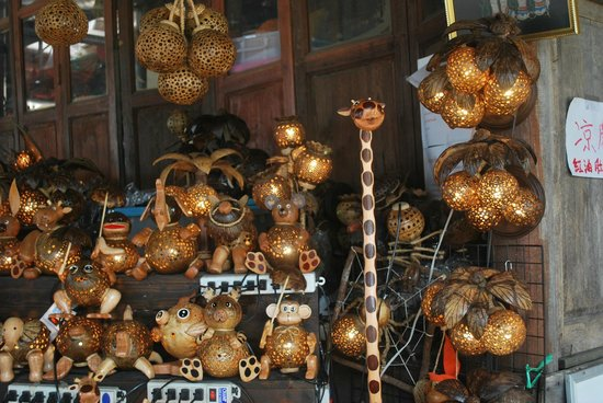 Coconut shell lights lamp shades picture of pattaya floating pattaya floating market coconut shell lights lamp shades mozeypictures Images