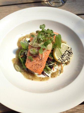 Twelve Trees: Steamed salmon on turtle bean and sugar snap pea salad