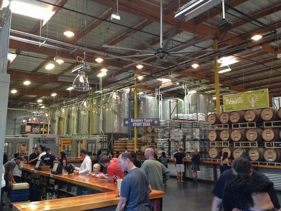 Green Flash Brewing Company: Bar to the left and the main brewery in background