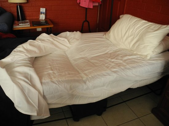 Salamander Beach Accommodation : my rollaway bed, after 1 back-breaking night