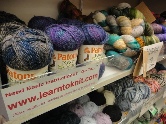 Spinrite Yarns and Dyers: The shelves contain complete collections of Patons, Bernat, Lily, and Phentex yarns