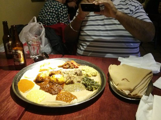 Meskerem: Veg Combo + Chicken and Lamb dishes, with Ethiopian Beer!