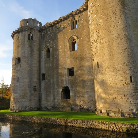 Nunney Castle: Viewed from beside moat