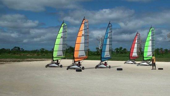 Blokart Land Sailing Vanuatu : Light winds and large sails.