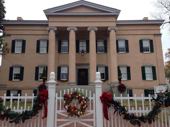 Milledgeville, GA: Front of the Old Mansion, ready for Christmas!
