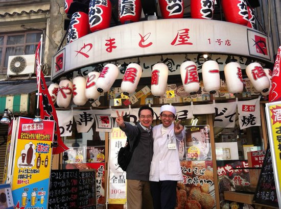 All Star Osaka Walk: Picture with a local restaurant owner