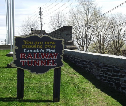 Brockville Railway Tunnel: Driving along Water Street will take you over the hump of the tunnel.