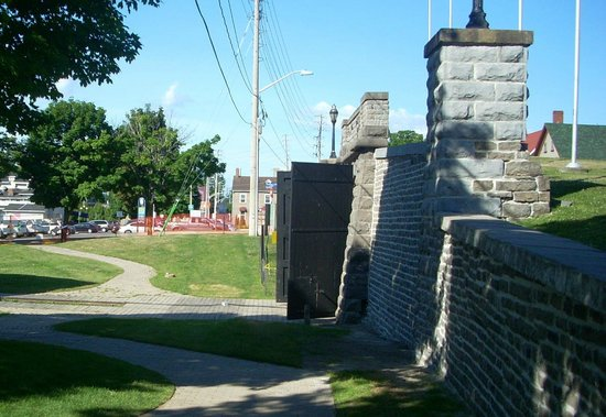 The southern portal of the Brockville Railway Tunnel is near the waterfront.