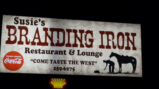 Susie's Branding Iron Restaurant: Next to the Shell gas station.
