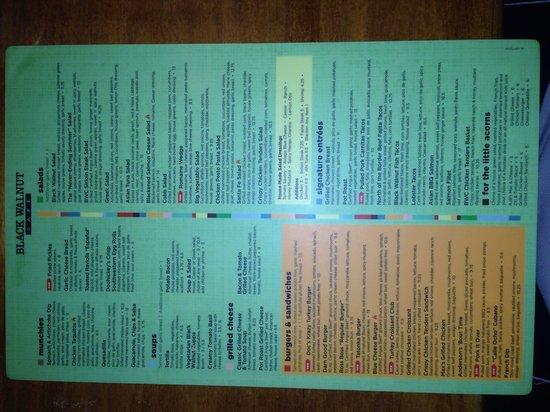 Black Walnut Cafe - The Woodlands: The menu