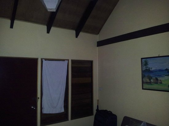 Club Fiji Resort: the room we were in. the shutters were not working properly so we put a towel for privacy