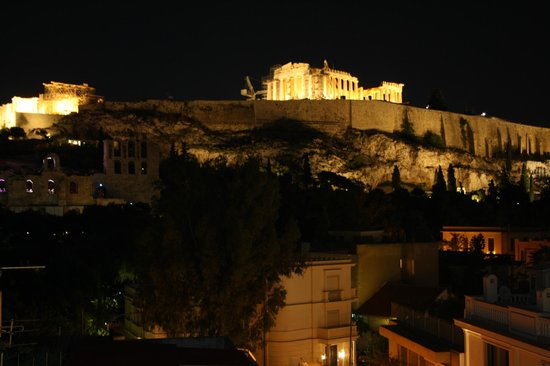 Acropolis View Hotel: Night view from our room