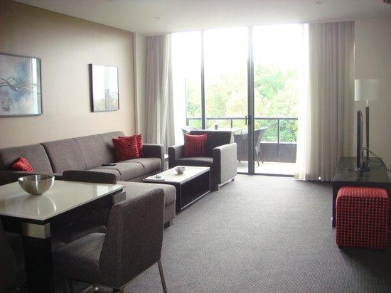 Meriton Serviced Apartments Parramatta: Apt 634 (Block D) - Living area & balcony