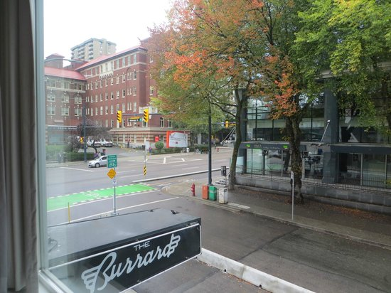 The Burrard: View from 209 on to Helmcken street and the hospital on Burrard Street
