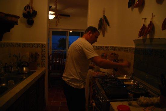 Making breakfast in Villa Balam Ek